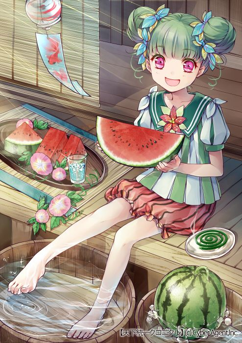 ✮ ANIME ART ✮ food. . .fruit. . .watermelon. . .personification of water melon. . .green hair. . .hair buns. . .sailor style dress. . .bloomers. ..flowers. . .water. . .smile. . .cute. . .moe. . .kawaii
