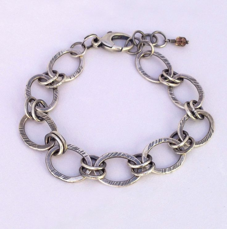 Fine silver link bracelet with sterling silver clasp