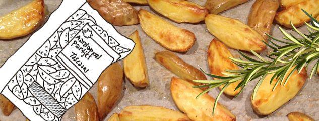 Karin Luiten glimlacht bij 'aardappels-met-een-smaakje-uit-een-zakje'. Zij maakt ze lekker helemaal zelf. In een handomdraai.