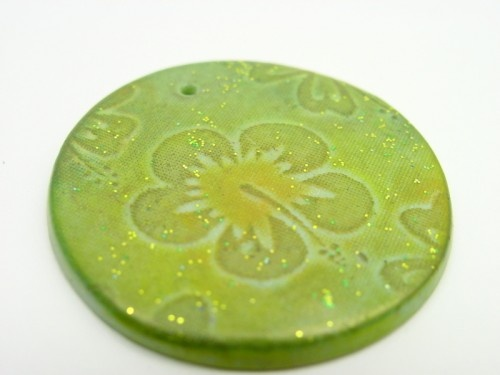 35mm Hawaiian Hibiscus pendant from polymer clay in green orange