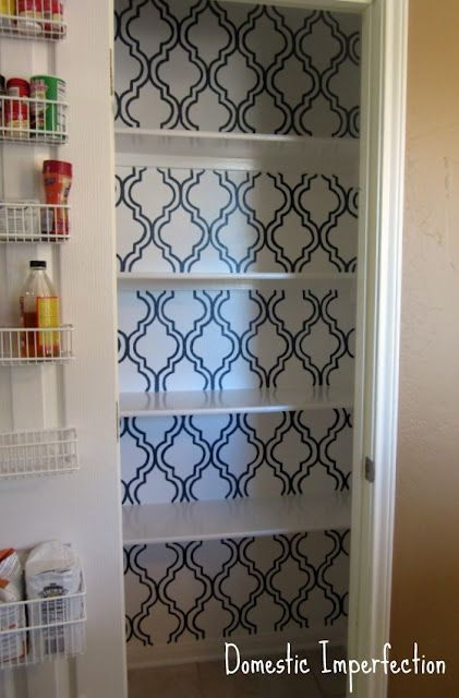 perfect. Paint + stencil the inside of our pantry so its not so ugly when the pantry doors are open. Brilliant. Doing this soon.