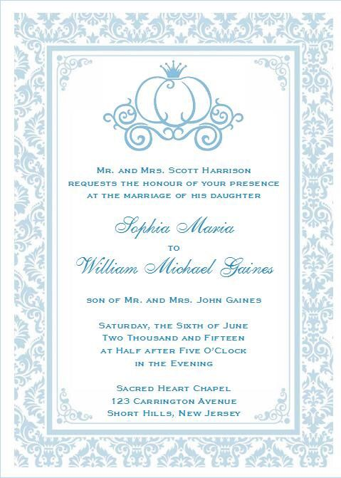 Gorgeous Cinderella Invitation Design - Perfect for a cinderella themed wedding or shower - 3 Designs