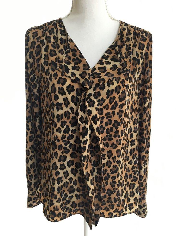 Dana Buchman Size 4 Roll Up Long Sleeve Blouse Tunic Leopard Animal Print Gold | eBay