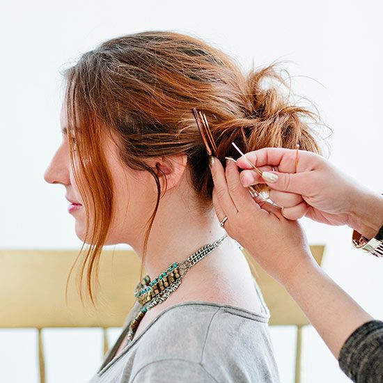 Hair always slipping and sliding out of pins? Flip them over, so that the wavy side lays against your head. For even more staying power, spritz the pin with a quick hit of hairspray first.