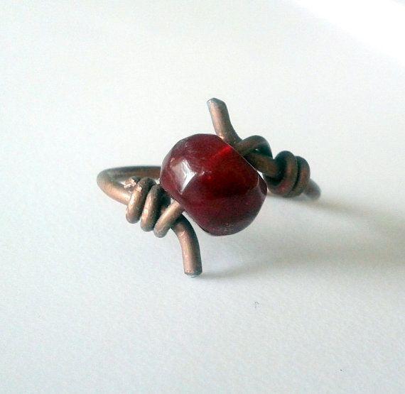 Indie Copper Red Bead Ring Minimalist by JennieVargasJewelry,
