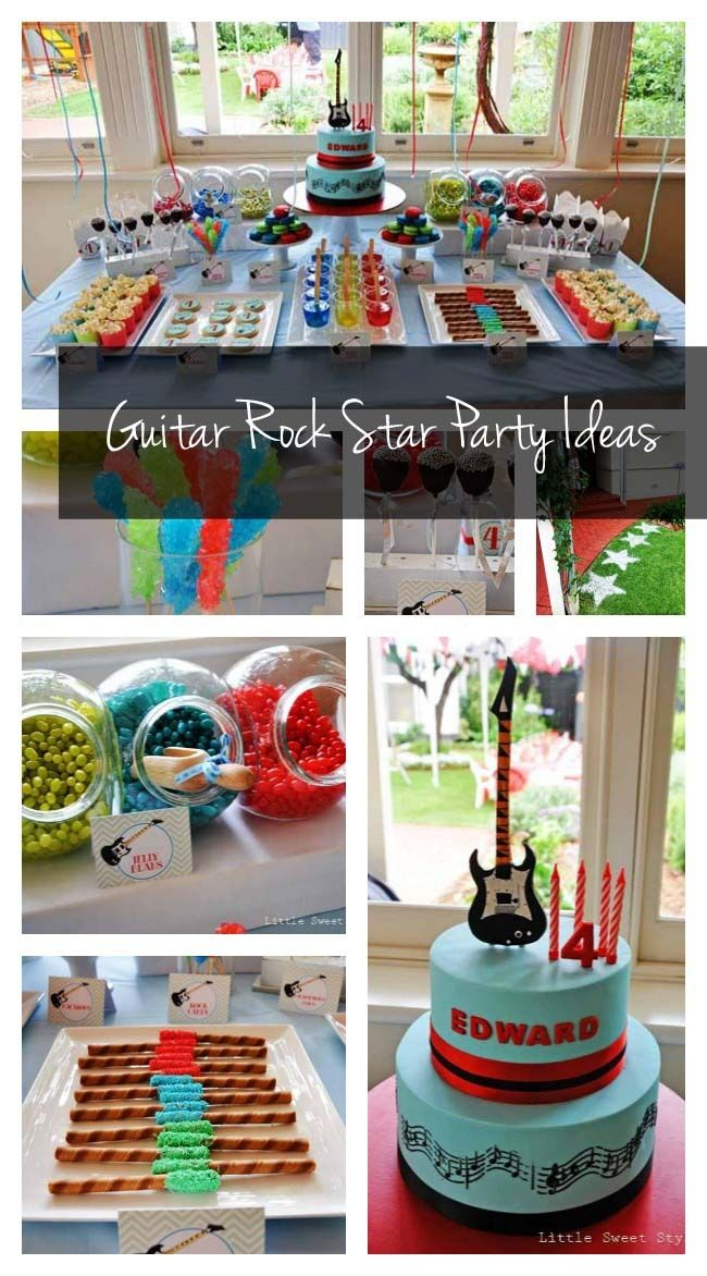 Guitar Rock Star 4th Birthday {Boy Party Ideas} - www.spaceshipsandlaserbeams.com