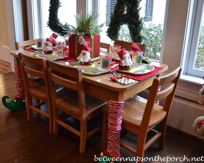 Look at those table legs!!!   .... ...Between Naps on the Porch | Four Beautiful Christmas Table Settings | http://betweennapsontheporch.net