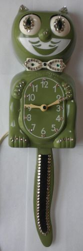 Green Jeweled Kit Cat Klock - Serviced and Working with a 90 Day Guarantee - $164.88 #GreenCat #JeweledCat #CaliforniaClockCo #Clock #Collectable #CollectorClock #Electric #KitCat #KitCatKlock #KitchenClock #ModelD8 #AnimatedClock #KitchenClock #NoveltyClock #RollingEyes #WaggingTail #VintageClock #WallClock