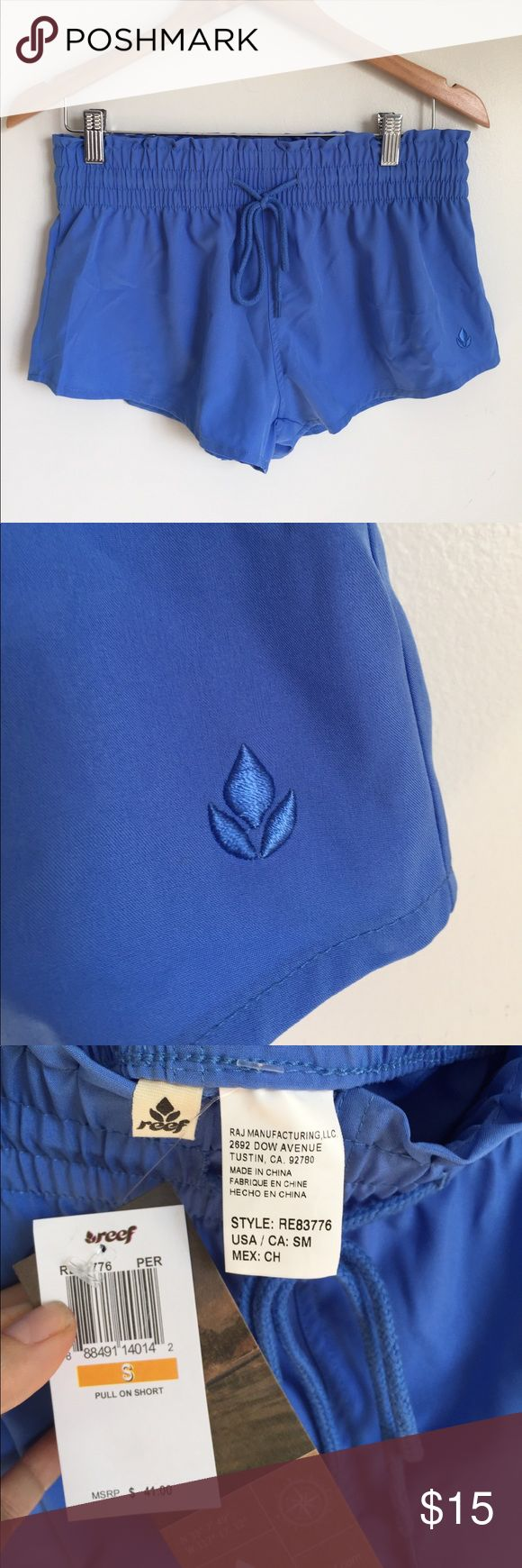 """Reef pull in elastic waist board short Beautiful blue color board shorts active shorts surf shorts. Perfect for modest Swimsuit or with bikini top! Drawstring waist, thick 3"""" elastic waistband 2"""" inseam new with tags! Reef Swim"""