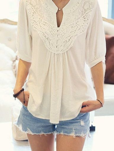 This shirt is so pretty! The cut is a little low for me and I don't really like white shirts, but the lace is just gorgeous!