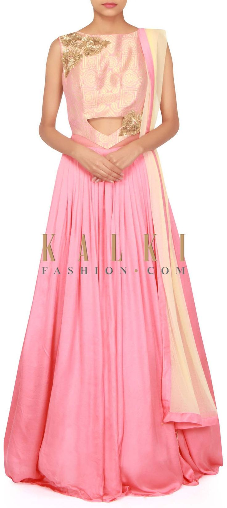 Pink anarkali suit adorn in zardosi embroidered butti only on Kalki
