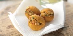Crispy Brazilian bean cakes are filled with a rich, aromatic salt cod and shrimp filling in Marcello Tully's moreish street food recipe
