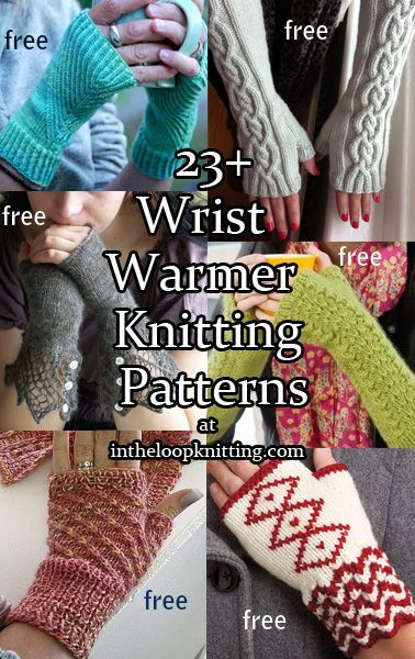 Knitting patterns for Wrist Warmers and Fingerless Mitts, most of the patterns are free