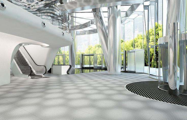 wielkoformatowe płytki Star Maker w Warsaw Spire (wizualizacja), proj. Massive Design Maca Stopy dla Laminam, fot. materiały prasowe