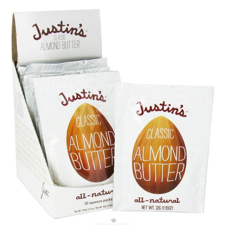 Justin's Nut Butter, Классическое миндальное масло, полностью натуральное, 10 пакетиков, 1.15 унций (32 г) /шт.