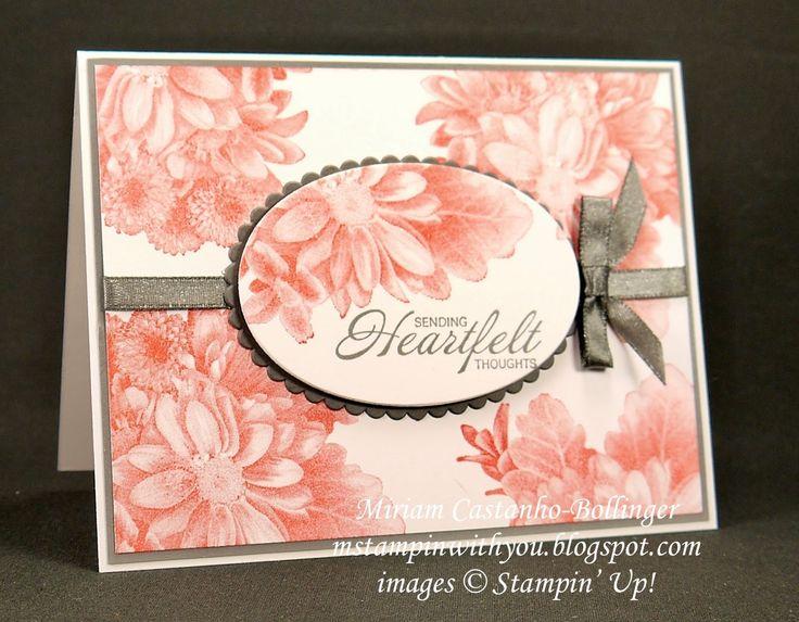 Miriam Castanho-Bollinger, #mstampinwithyou, stampin up, deonstrator, sympathy card, heartfelt blooms, shimmer ribbon, big shot, layering ovals, su