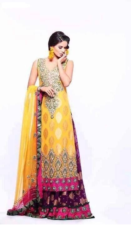 Designer yellow color long #Drees