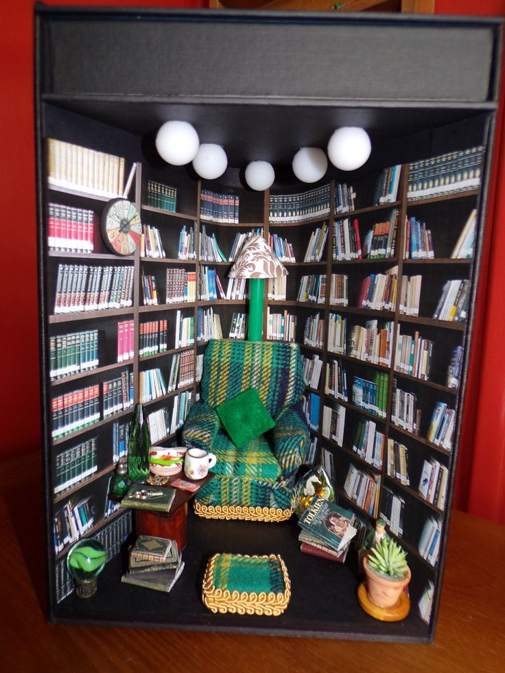 Bookshelf art book nook diorama bookshelf insert cosy