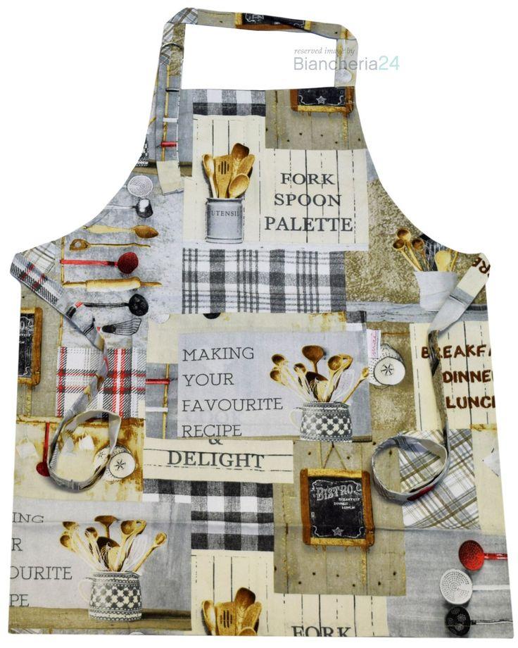 Elegante grembiule da cucina con pettorina regolabile della linea maè by via roma,60, la stampa presenta un puzzle di immagini che richiamano la cucina. www.biancheria24.it