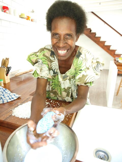 Anise making beautiful fresh coconut milk; want to do a cooking class on an island in the sun?