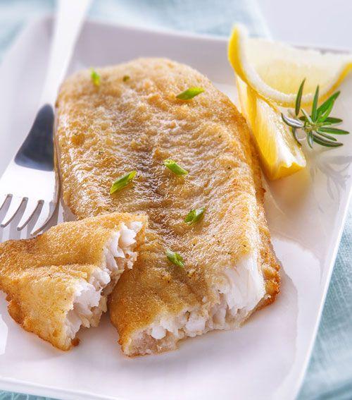Poissons panés : Filet de merlu blanc du cap meunière