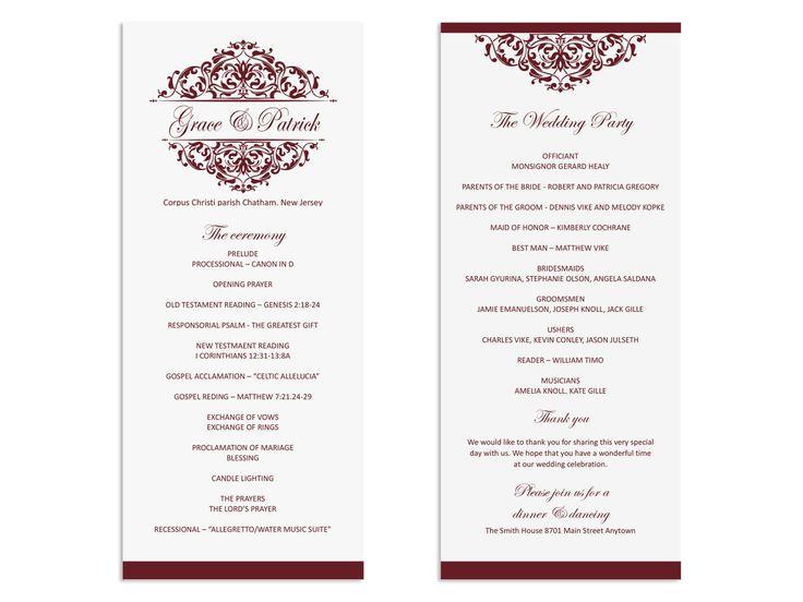 SALE 50% OFF - Wedding program template - Printable Wedding Program - Wedding program download - Maroon - Victorian Ornate - Tall Program by NicyaPrintables on Etsy
