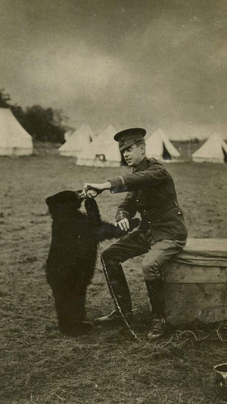 Lindsay's great grandfather Harry Colebourn in the military training camp with the bear cub he named Winnie