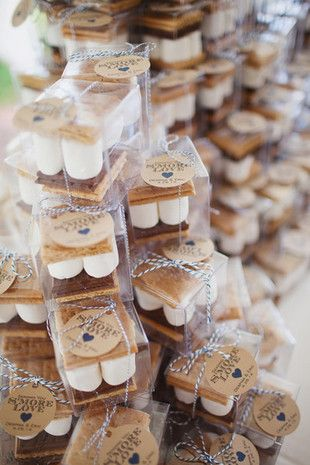 S'more Favors! The perfect way to indulge your guests in a little summertime nostalgia with a gooey, delicious campfire treat. {Abby Caldwell Photography}
