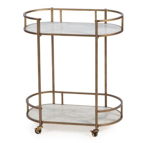 Belham Living Toscano Oval Bar Cart W Marble Shelves