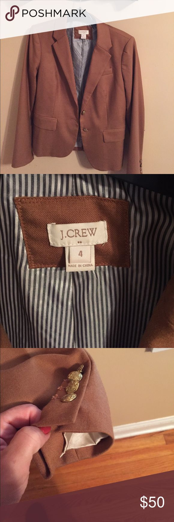 J.Crew Factory Schoolboy blazer camel 4 J.Crew Factory Schoolboy blazer Camel 4. Excellent condition hardly worn. Tag says it was from the 2015 collection. I have other schoolboy Blazers in size 4 available if you'd like to bundle and see. Sadly they no longer fit. J. Crew Factory Jackets & Coats Blazers
