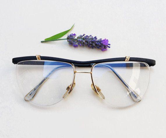80s half rimmed eyeglasses / NOS deadstock frames / flat top made in Italy vintage sunglasses / modernist urban hipster hype eyewear by Skomoroki