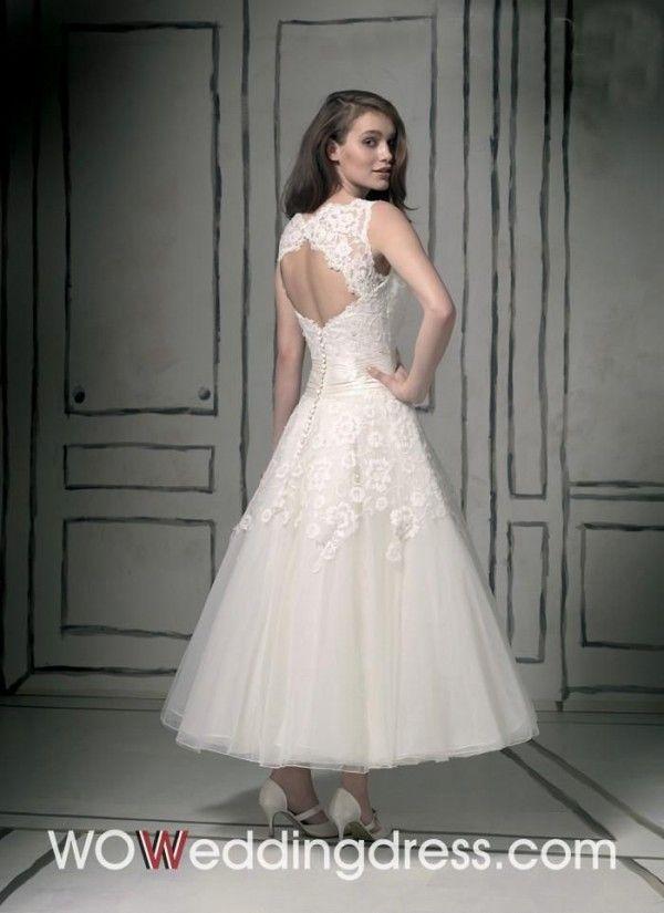 Sumptuous A-line Bateau Tea-length Appliques Wedding Dress - Wedding Dresses