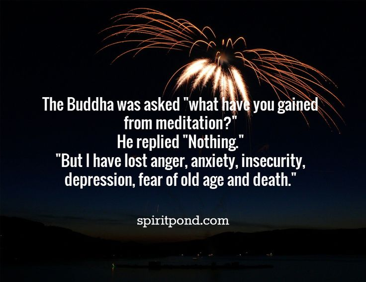 "The Buddha was asked ""what have you gained  from meditation?"" He replied ""Nothing."" ""But I have lost anger, anxiety, insecurity,  depression, fear of old age and death."" / spiritpond.com"