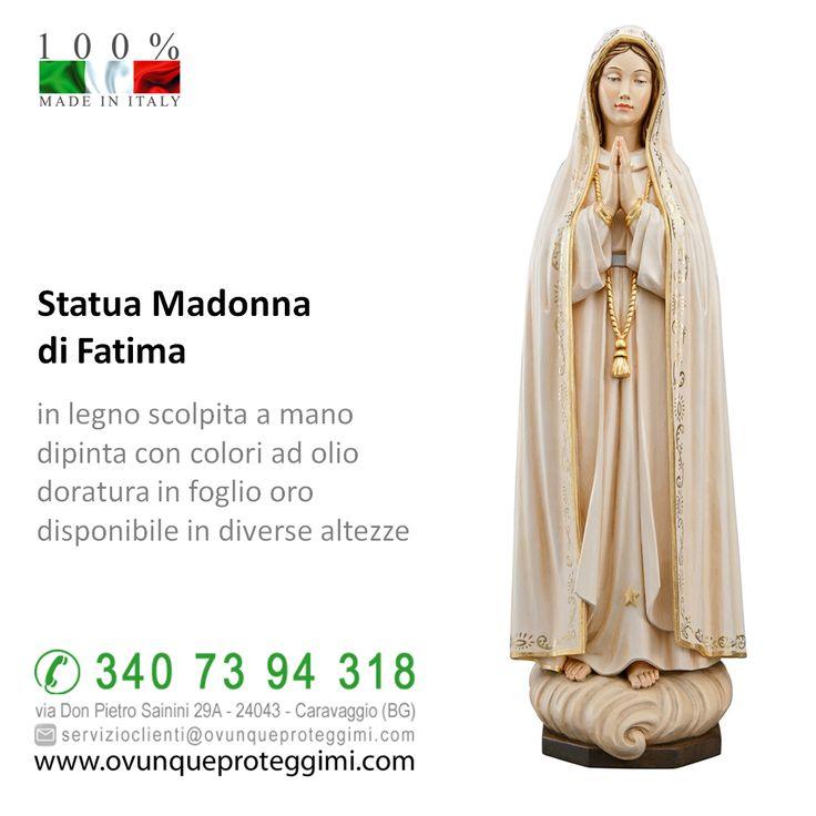 Statua Madonna di Fatima in legno  in legno scolpito a mano dipinto con colori ad olio doratura in foglio oro disponibile in diverse altezze   La statua della Madonna di Fatima in legno è disponibile al seguente link http://www.ovunqueproteggimi.com/collezione-statue/statue-in-legno/madonna/