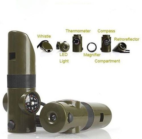 7-in-1 Emergency Survival Tool, button switch for LED light, temp range:20-50C. Comes with: whistle, magnifying glass, signal mirror, compass, thermometer, small storage container, white LED light. Portable and easy to carry with a lanyard. Powered by 2 X CR2016 cell button (included). 10 x 3 x 3 cm (approx). Color: olive green