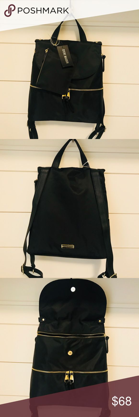 Steve Madden backpack Black Steve Madden backpack. Perfect size and lots of pockets! Steve Madden Bags Backpacks