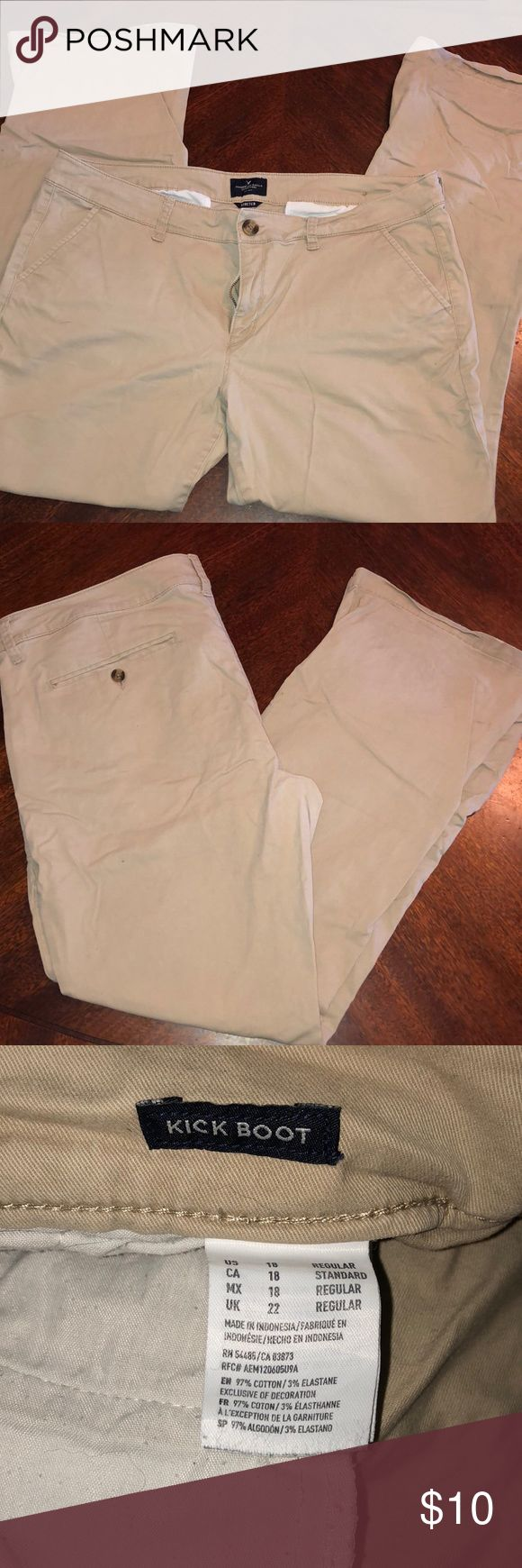 American Eagle Pants - Size: 18 Regular  - Gently Worn - Khaki pant - Style: Kick Boot  - Button pockets - Stretchy Comfortable Fit - Slight discoloration on bottom hem of pants other than that in great condition  ❤️ I'm fast at shopping & love receiving offers❤️ American Eagle Outfitters Pants
