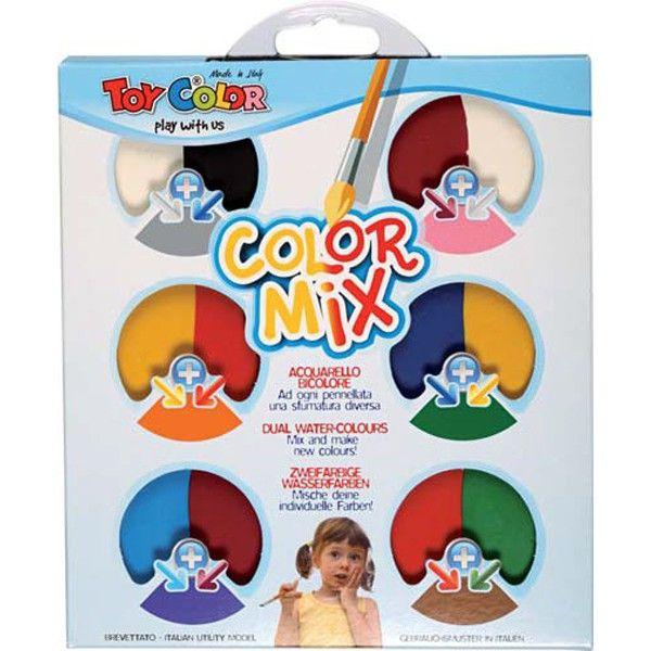 Tabletele mari, realizate din două culori diferite ajută copii să inţeleagă cât de multe nuanţe de culoare se pot crea prin amestec. http://www.dacris.net/produse-pentru-scoala/articole-pentru-pictura-toy-color/acuarele-culori-combinate-toy-color-non-toxic