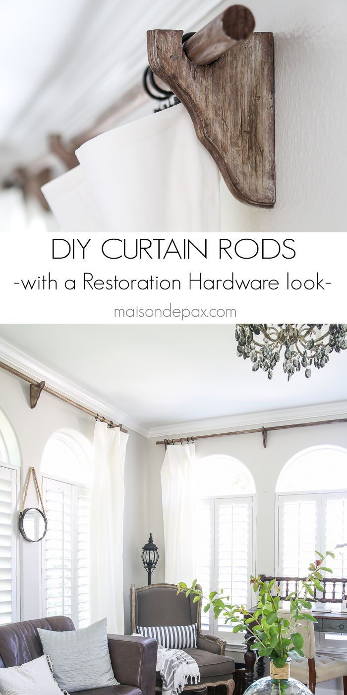 Ceiling mount curtains quotes - Diy Real Wood Curtain Rods With A Restoration Hardware Look For A