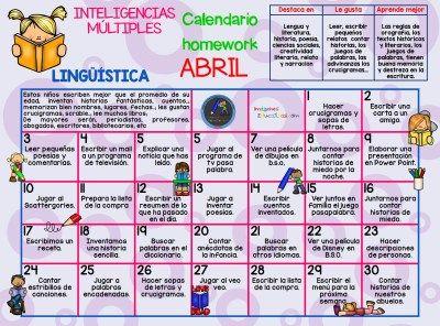 Calendario Inteligencias Múltiples LIN (1) - Imagenes Educativas