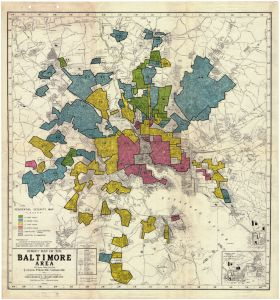 Homeowners Loan Corporation 1937 map of Baltimore, with the least desirable neighborhoods identified in red. Johns Hopkins University.
