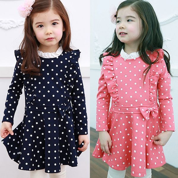 Kids Girls Dress Long Sleeve Ruffle Cotton Dress Party Dots Bow Clothing 1-6 Y #Affiliate