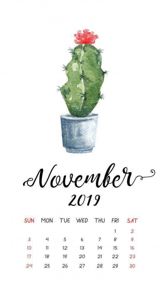 Watercolor Cactus Calendar For November 2019 Premium Vector