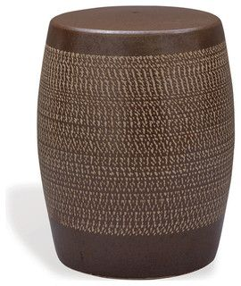Would like this as an accent table in entryway.  Mesa Southwestern Brown Chipped Texture Garden Seat - contemporary - outdoor stools and benches - by Kathy Kuo Home