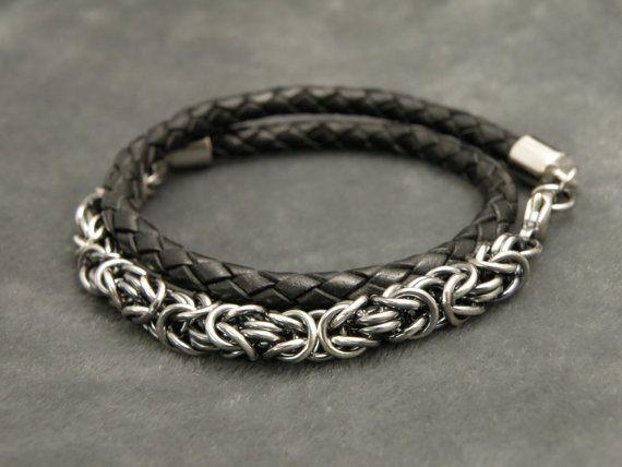 Men's Bracelet Leather Wrap Bracelet Bolo by MailleEnhancement, $129.00