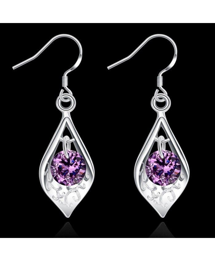 Elegant Creative Inlaid Purple Zirconia Shell Earrings