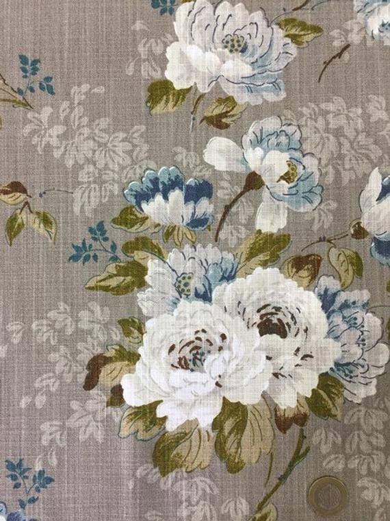 Upholstery Linen Fabric Fabric By The Yard Vintage Roses Fabric