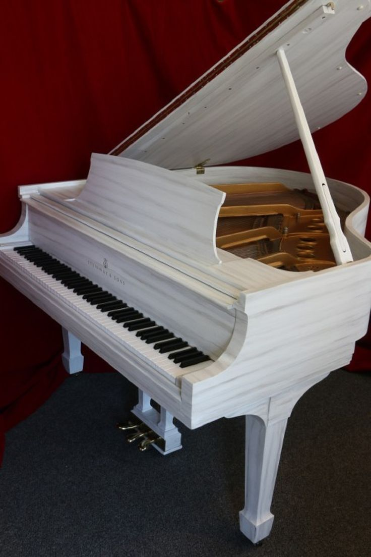 "FOR SALE NOW: Customized Art Case Steinway ""The White Driftwood"" Grand Piano Model S Hand Painted Original Work of Art, Contemporary Style w/PianoDisc Player System $25,000."