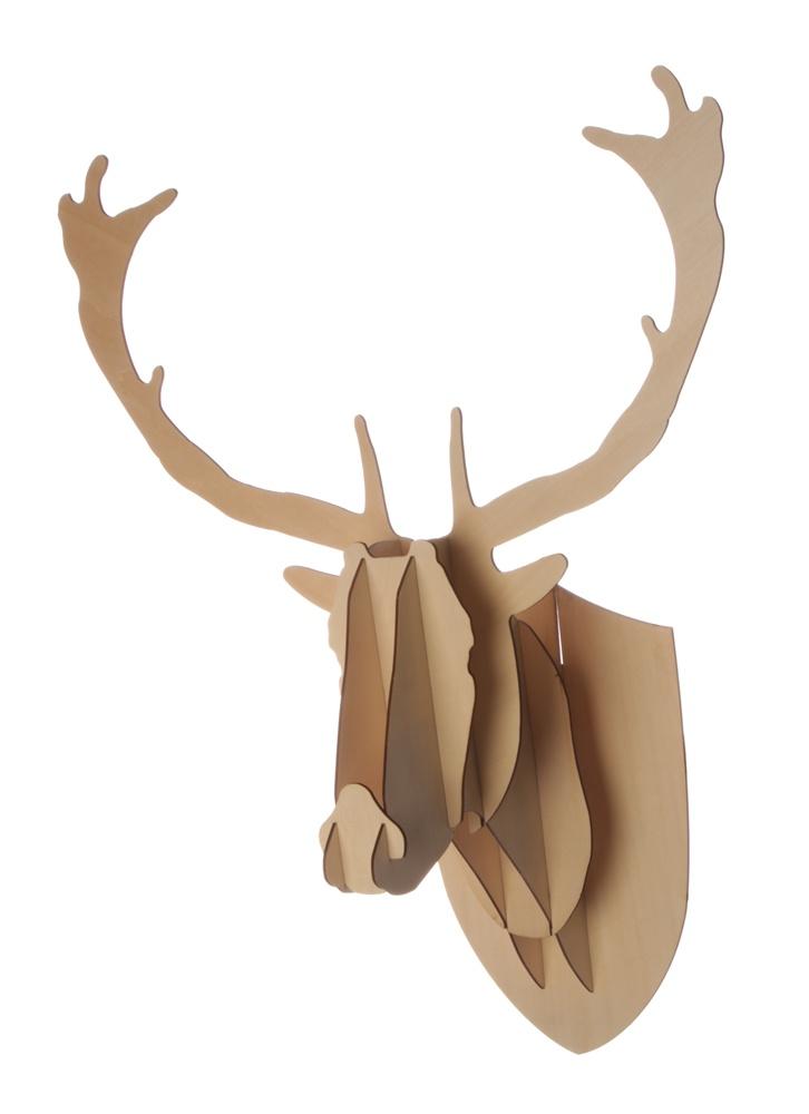 Bamb Plywood Deer Head Wall Hanging - Medium - Matt Blatt