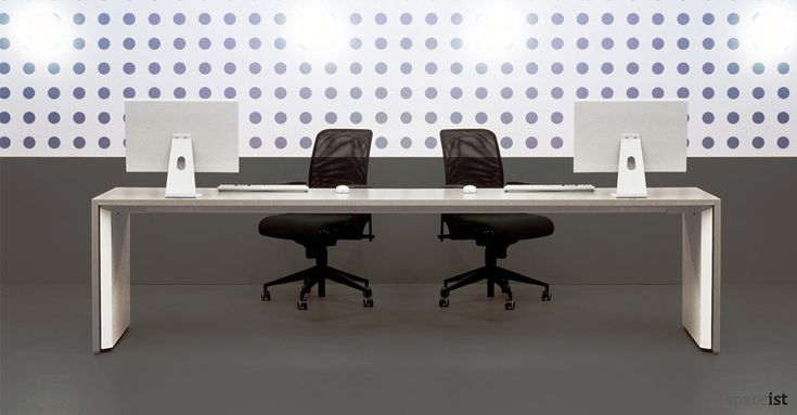 tre. pure, minimalist long straight bench desk with grey slab